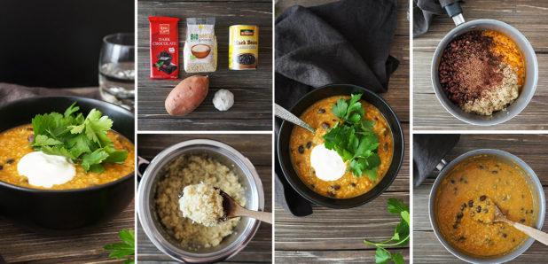 KLIKNI SEM  ZA OGLED FOTKE (na fotki: Čili s sladkim krompirjem, kvinojo in črnim fižolom)