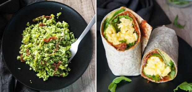 Brokolijev riž s porom in sušenimi paradižniki,  Kremna jajčka s sirom v tortiliji z rukolo in paradižnikovim namazom