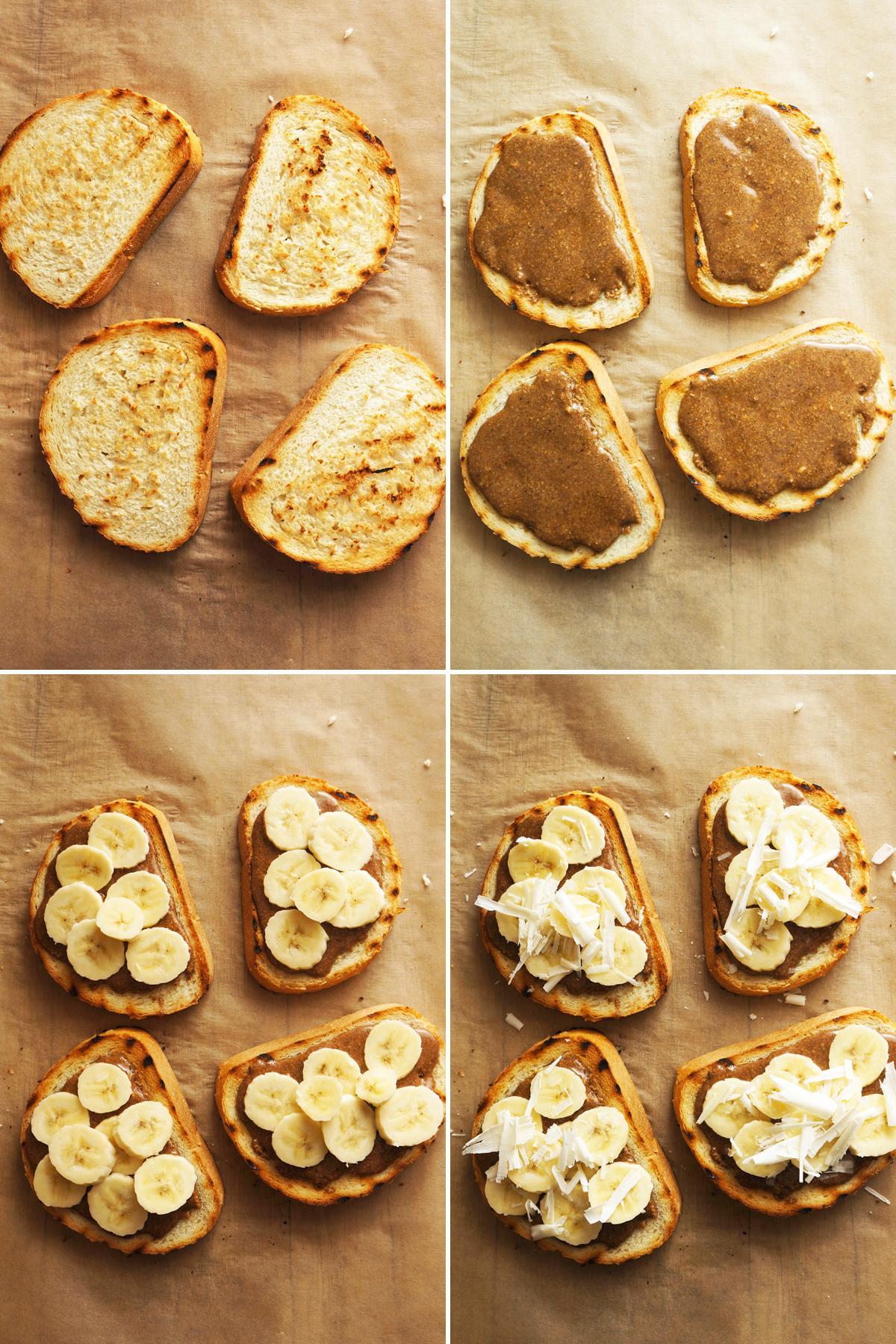 Brusketa s čokoladnim namazom, banano in borovnicami