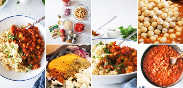 Nadvse topel čičerikin čili s papriko na kvinoji