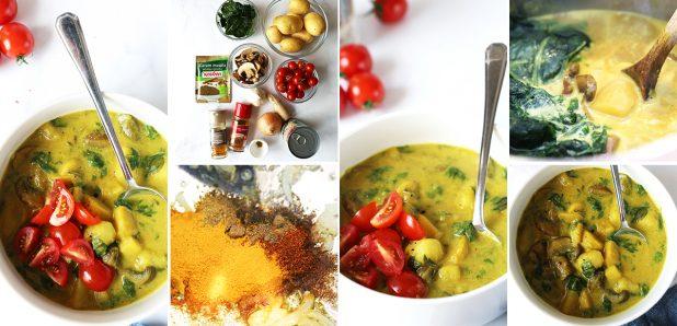 Krompirjev curry z gobami in špinačo