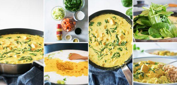 Kremast curry z lososom in špinačo
