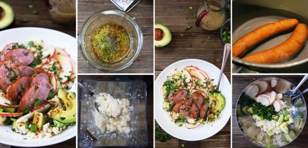 Cvetačna solata z gorčično-medenim prelivom in kranjsko klobaso