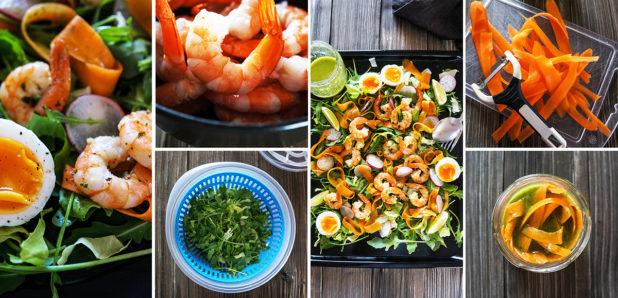 ČE NE VIDIŠ  FOKTE, KLIKNI SEM (foto: Lahka solata s česnovimi gamberi, korenčkovimi rezanci in jajcem)