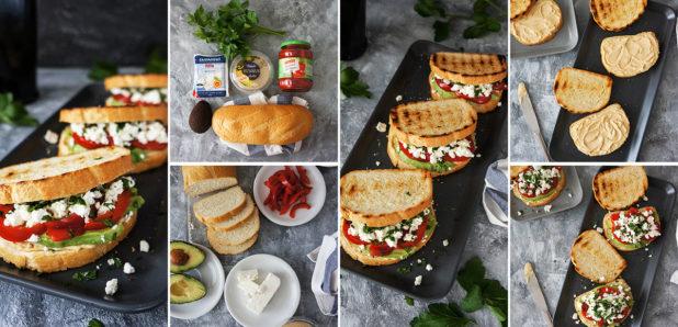 KLIK ZA FOTKO: Grški sendviči s humusom, papriko, feto in avokadom