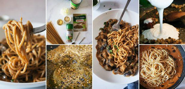 Špageti v kremasti omaki z jajčevci