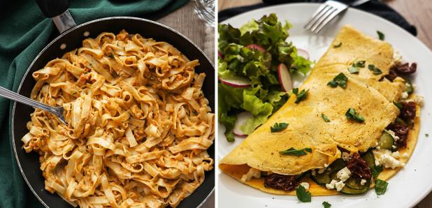 Rezanci s pestom iz pečenih paprik in Jajčna omleta z zelenjavo in feto