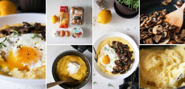 KLIK ZA FOTKO: Mascarpone polenta s pečenimi gobicami in jajcem