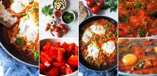 Jajca v paradižnikovo-zelenjavni omaki