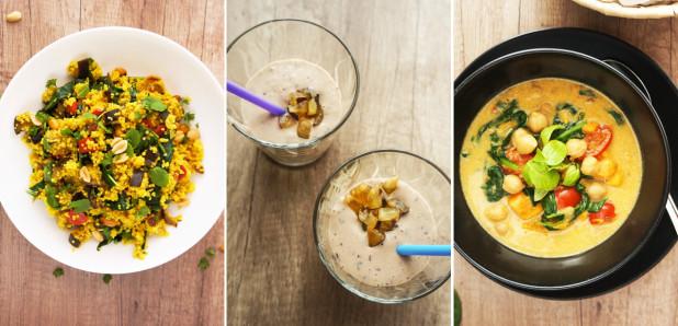 Novi recepti: Maroški  kuskus, Slivovo-bananin smuti s kokosovim mlekom, Curry s čičeriko, sladkim krompirjem in špinačo