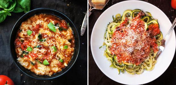 Pappa al pomodoro, Bučkini špageti z omako amatriciana