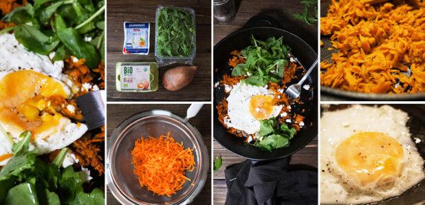 KLIK ZA FOTKO: Pečen sladek krompir z jajcem