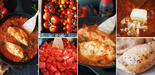 KLIK: Piščanec v paradižnikovi omaki s špinačo