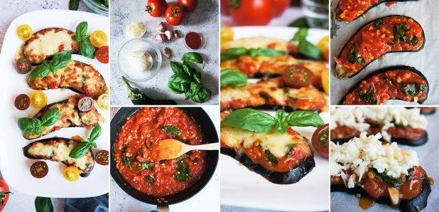 Pice z jajčevci  in božansko paradižnikovo omako, mocarelo ter svežo baziliko