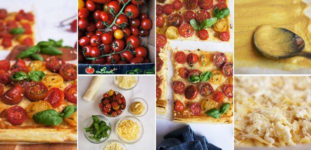 Pita s tremi  siri in češnjevimi paradižniki