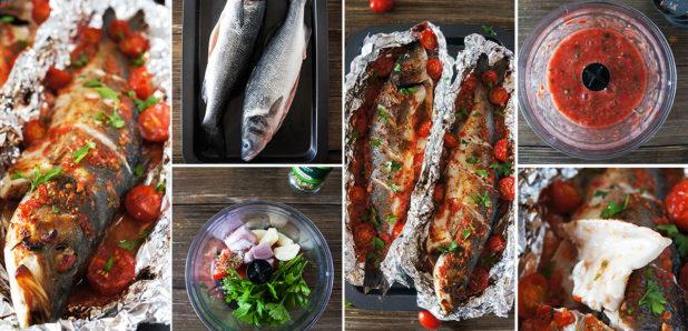 V pečici pečena cela riba s paradižniki
