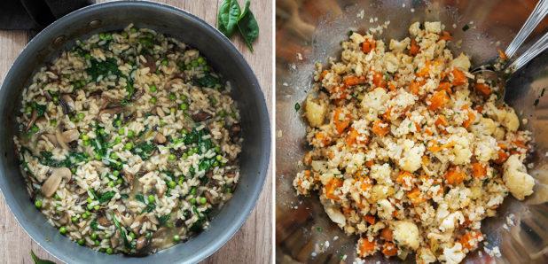 Jesenska rižota z gobami in grahom, Jesenska solata  s pečeno zelenjavo in bulgurjem