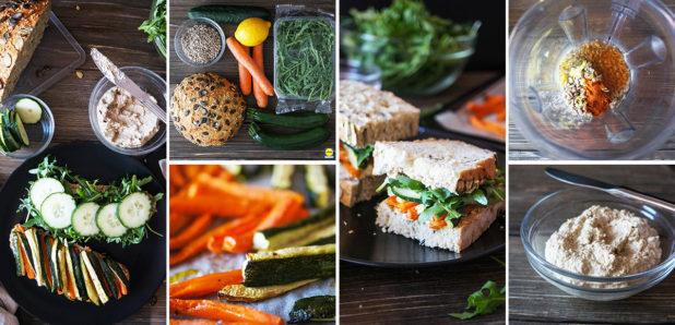 ZA OGLED  KLIKNI SEM: Polnozrnati sendviči z zelenjavo in namazom iz sončničnih semen