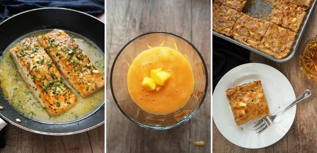 Losos v masleni omaki, Mangov smuti s korenjem in  banano, Jabolčno-orehovo pecivo