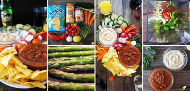 KLIK ZA FOTKO: Party krožnik s tortilija čipsom, zelenjavo, paradižnikovo salso in humusom