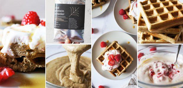 Konopljini proteinski vaflji z jogurtom in malinami