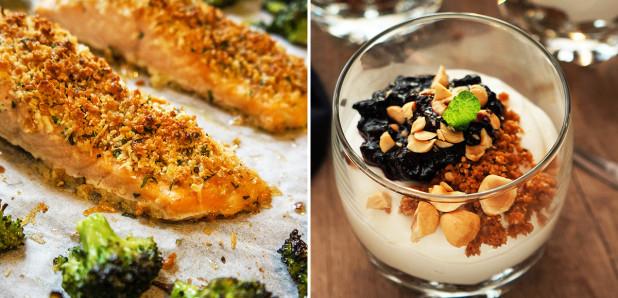 Losos s parmezanovim  pokrovom in pečenim brokolijem in Skutini kozarčki z borovničevo omako in lešniki