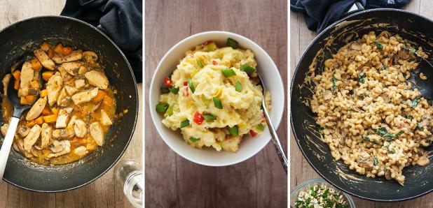 Piščanec z gobami in  rumeno bučo v vinski omaki in Kremni krompirjev pire z zelenjavo in Makarončki z gobami, sušenimi paradižniki, špinačo in smetano iz indijskih oreščkov
