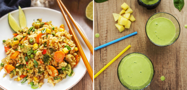 Azijski pražen riž z zelenjavo in Smuti iz ananasa,  špinače in kokosovega mleka