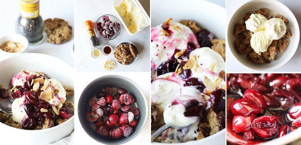 Sladoled s piškoti in vročimi višnjami