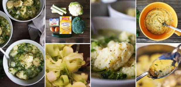 Brokolijevo-cvetačna juha z zdrobovimi žličniki